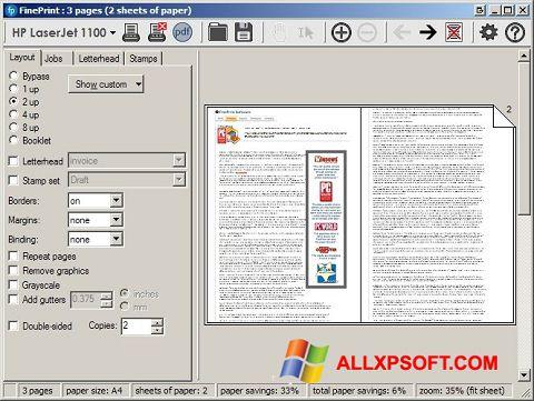 স্ক্রিনশট FinePrint Windows XP