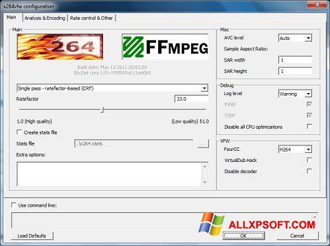 স্ক্রিনশট x264 Video Codec Windows XP