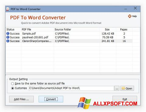 স্ক্রিনশট PDF to Word Converter Windows XP