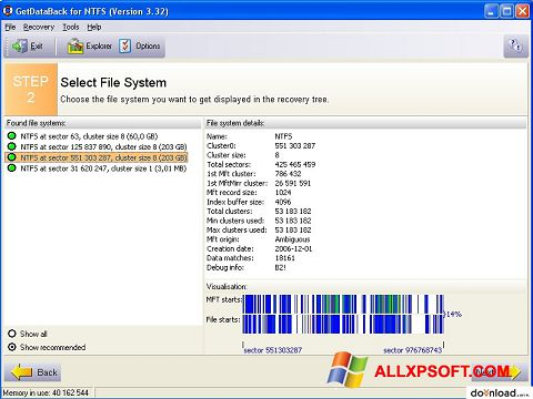 স্ক্রিনশট GetDataBack Windows XP