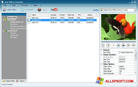 স্ক্রিনশট Any Video Converter Windows XP
