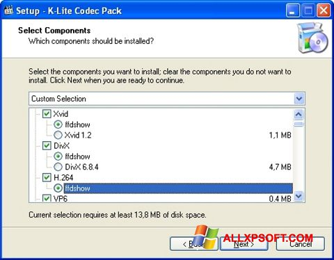 স্ক্রিনশট K-Lite Codec Pack Windows XP