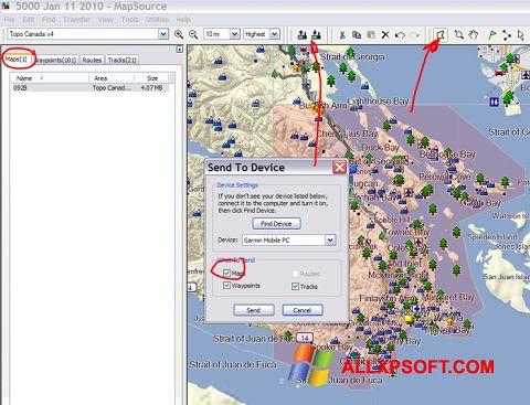 স্ক্রিনশট MapSource Windows XP