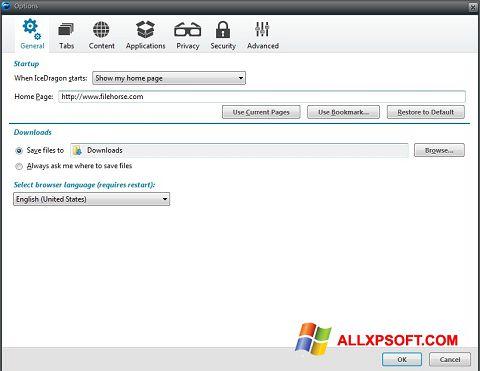 স্ক্রিনশট Comodo IceDragon Windows XP