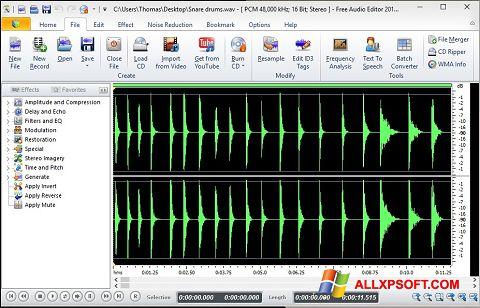 স্ক্রিনশট Free Audio Editor Windows XP