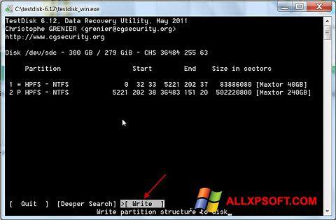 স্ক্রিনশট TestDisk Windows XP