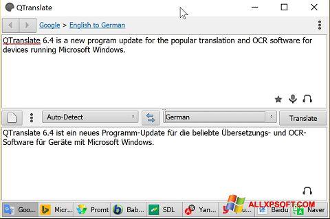 স্ক্রিনশট QTranslate Windows XP