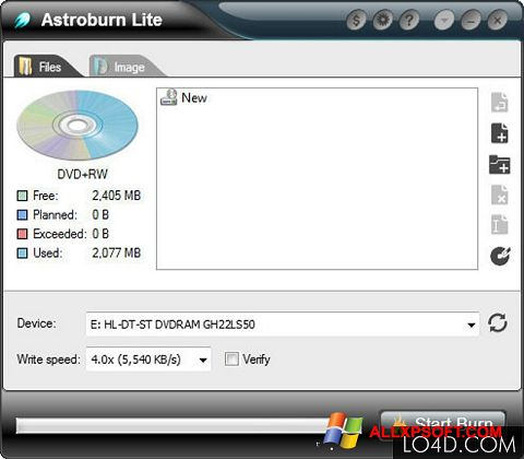 স্ক্রিনশট Astroburn Lite Windows XP