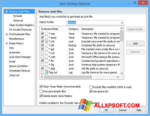 স্ক্রিনশট Ace Utilities Windows XP