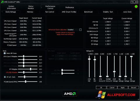 স্ক্রিনশট AMD Overdrive Windows XP