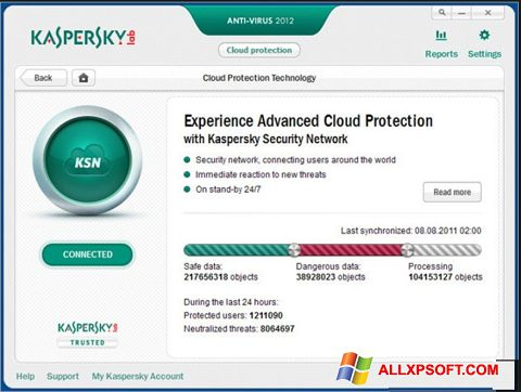 স্ক্রিনশট Kaspersky Windows XP
