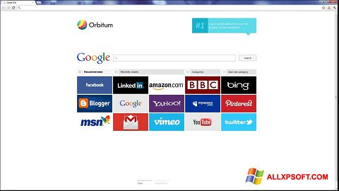 স্ক্রিনশট Orbitum Windows XP