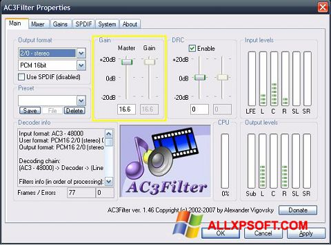 স্ক্রিনশট AC3Filter Windows XP