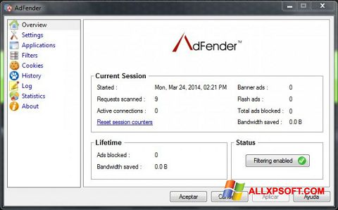 স্ক্রিনশট AdFender Windows XP