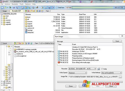 স্ক্রিনশট UltraISO Windows XP