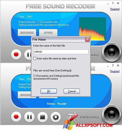 স্ক্রিনশট Free Sound Recorder Windows XP