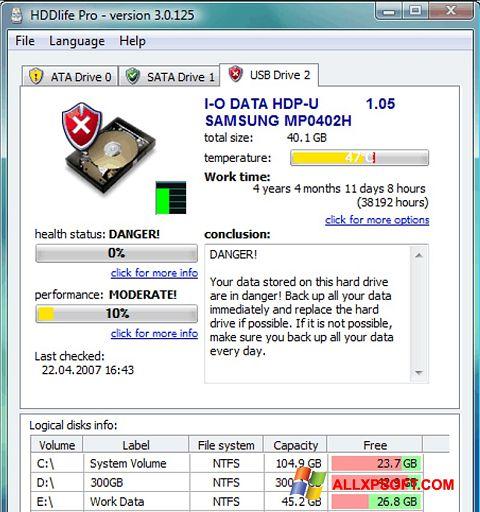 স্ক্রিনশট HDDlife Windows XP