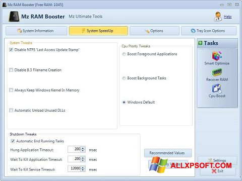 স্ক্রিনশট Mz RAM Booster Windows XP
