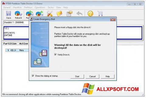 স্ক্রিনশট Partition Table Doctor Windows XP