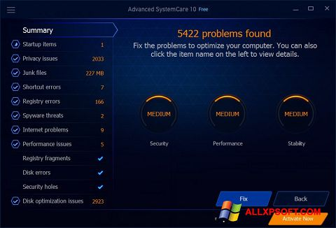 স্ক্রিনশট Advanced SystemCare Free Windows XP