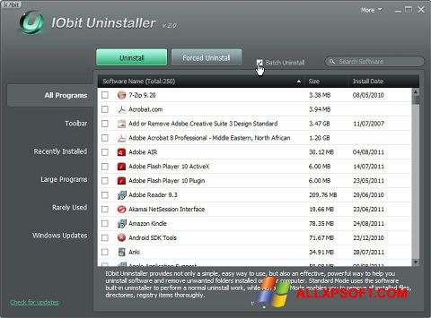 স্ক্রিনশট IObit Uninstaller Windows XP