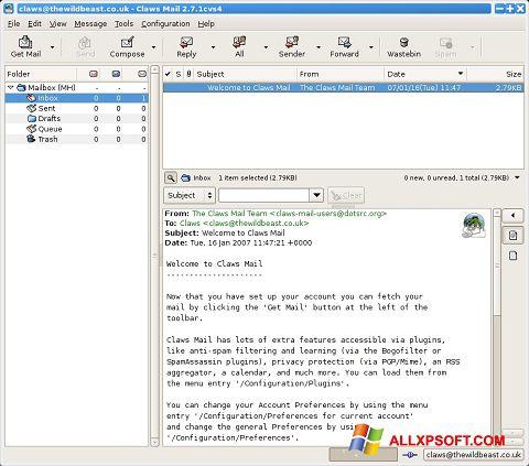 স্ক্রিনশট Claws Mail Windows XP