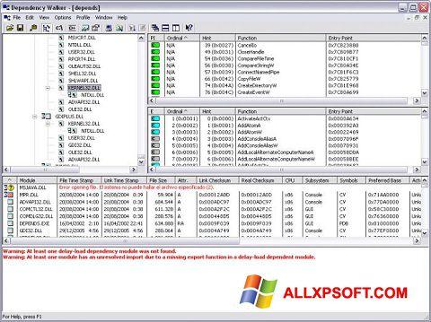 স্ক্রিনশট Dependency Walker Windows XP