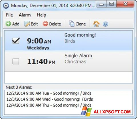 স্ক্রিনশট Free Alarm Clock Windows XP