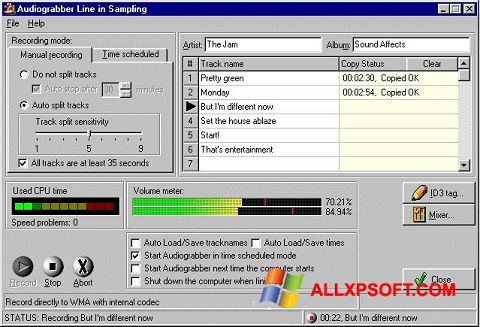 স্ক্রিনশট Audiograbber Windows XP