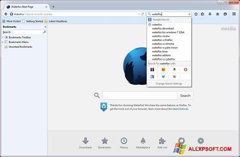 স্ক্রিনশট Waterfox Windows XP