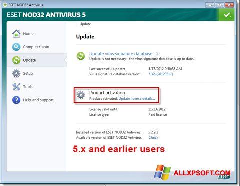 স্ক্রিনশট ESET NOD32 Windows XP