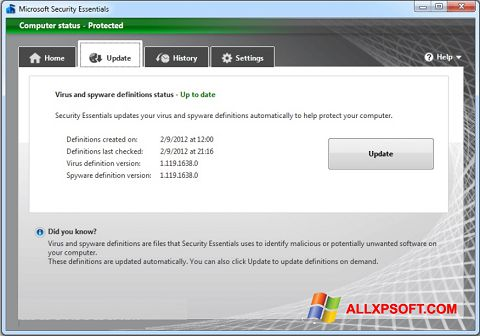 স্ক্রিনশট Microsoft Security Essentials Windows XP
