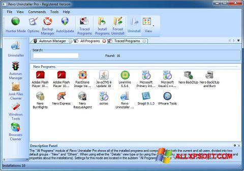 স্ক্রিনশট Revo Uninstaller Pro Windows XP